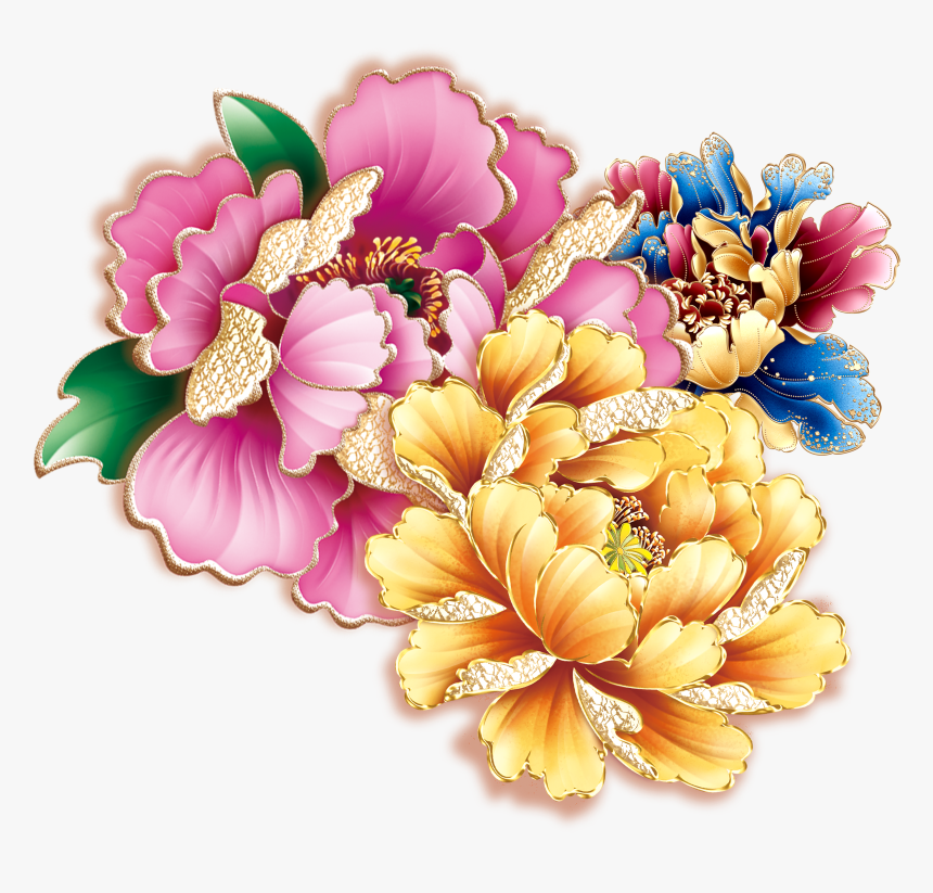 Moutan Papercutting Clip - Women Tattoo Flower Color, HD Png Download, Free Download