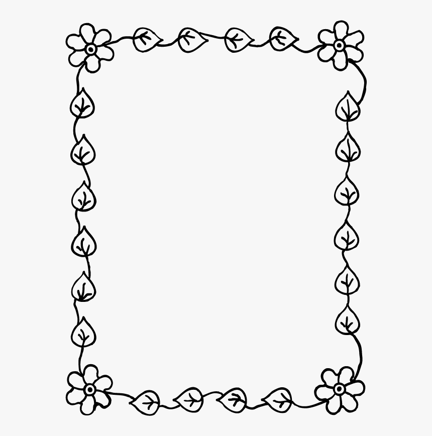 Simple Flower Drawing, Page Borders, Borders And Frames, - Diseño De Marcos Para Cuadernos, HD Png Download, Free Download
