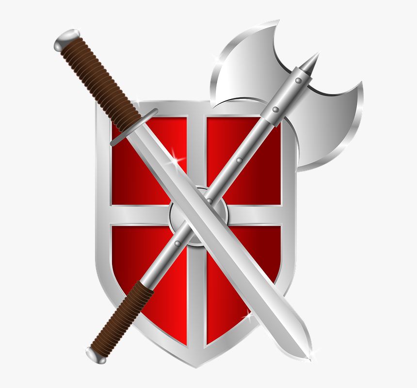 Shield, Axe, Sword, Crest, Armor, Warrior, Symbol - Shield And Sword Clipart, HD Png Download, Free Download