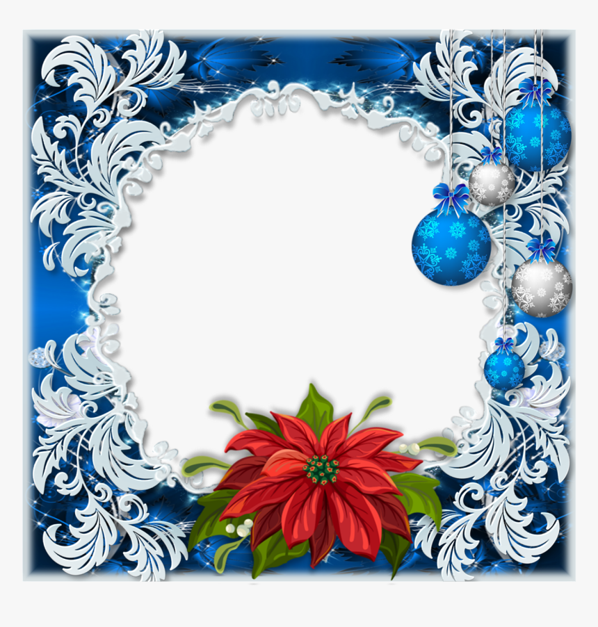 Frame, Holiday, Greeting, Poinsettia, Baubles, Scrolls, - Christmas Day, HD Png Download, Free Download
