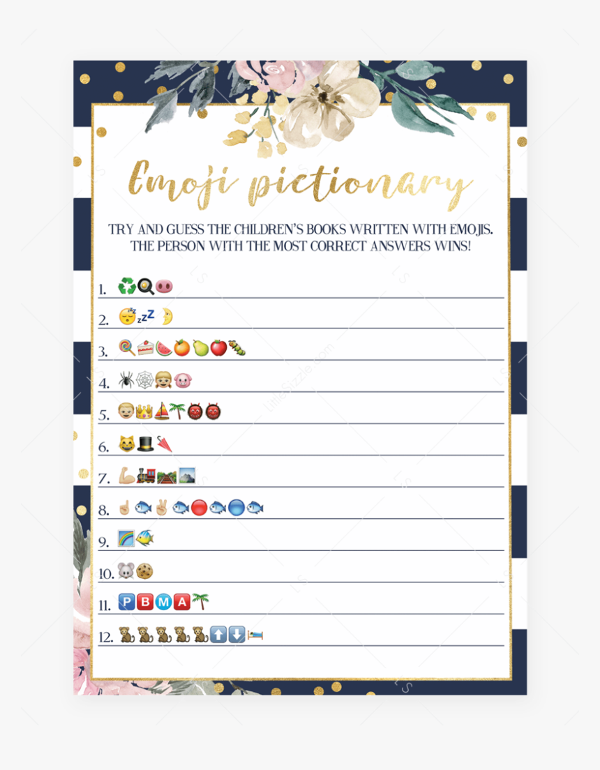 Childrens Books Emoji Pictionary Game Printable By - Free Emoji Baby Shower Game, HD Png Download, Free Download