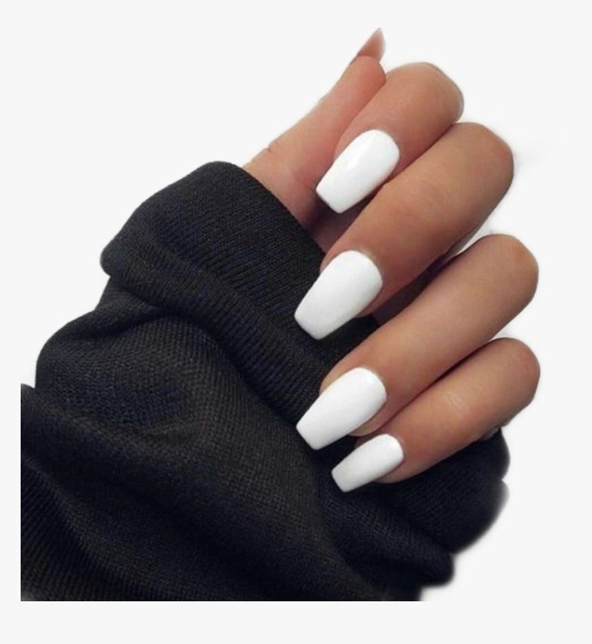 #nails #white #black #pngs #png #sticker #stickers - Short Coffin White Acrylic Nails, Transparent Png, Free Download