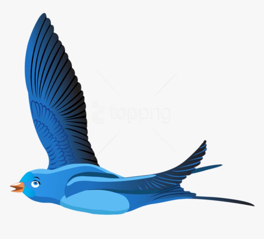 Free Png Download Blue Bird Cartoon Transparent Clipart - Transparent Background Flying Bird Clipart Png, Png Download, Free Download