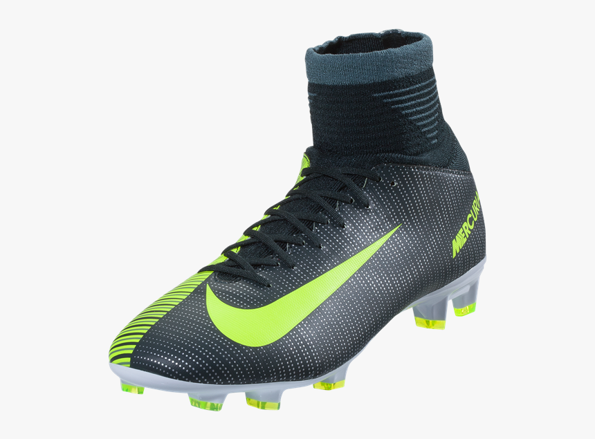 Nike Junior Mercurial Superfly V Cr7 Fg - Cr7 Superfly Green And Silver, HD Png Download, Free Download