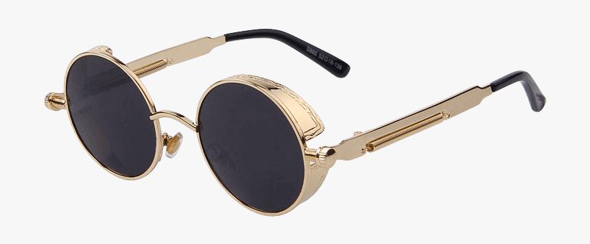 Vintage Women Gold Frame Steampunk Designer Sunglasses - Round Sunglass, HD Png Download, Free Download