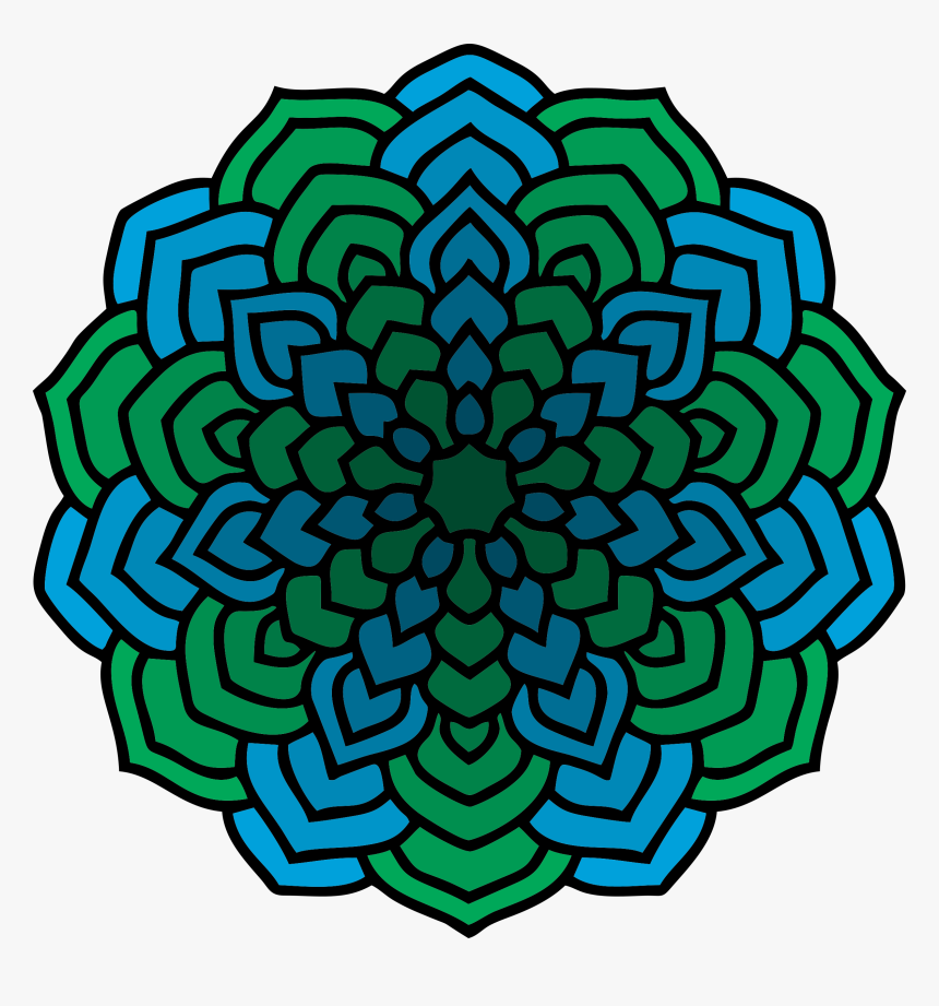 Mandala Vector Clipart Clipart Freeuse Library Green - Dibujo Diseño De Flores, HD Png Download, Free Download