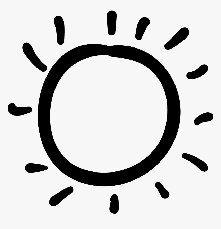 Sun Hand Drawn Irregular Shape - Hand Drawn Sunshine Clipart Black And White, HD Png Download, Free Download