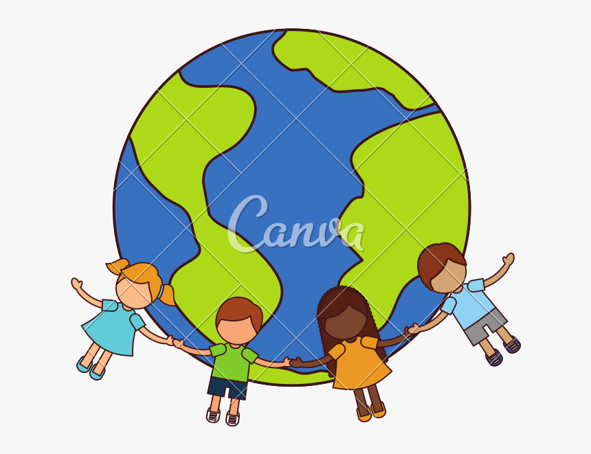 Kids Holding Hands Around The World Png - Kids Holding Hands Around The World, Transparent Png, Free Download