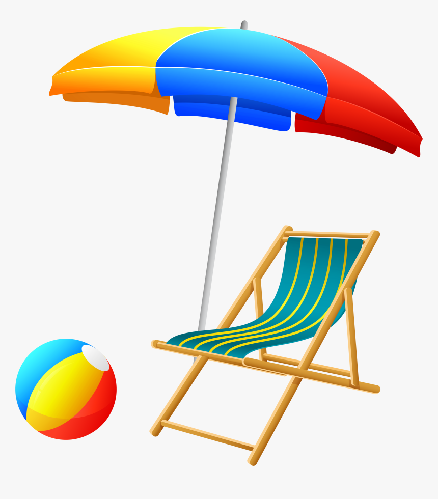 Beach Umbrella With Chair And Ball Png