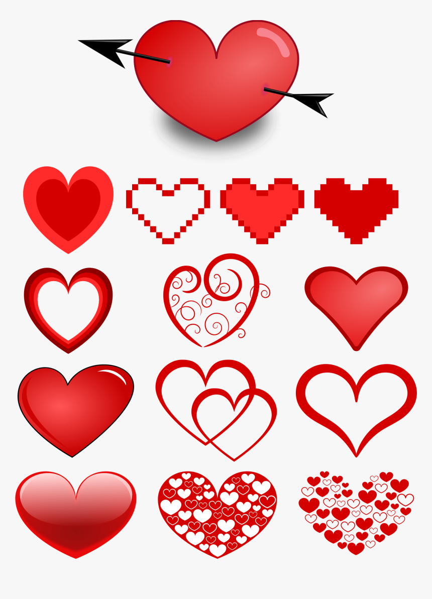 Variety Of Hearts Clip Arts - Heart Templates, HD Png Download, Free Download
