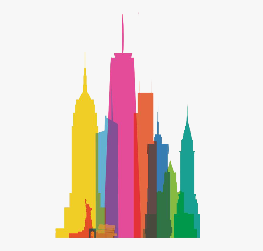 Clip Art Free Download New York City Skyline Clipart - Famous Buildings In One, HD Png Download, Free Download
