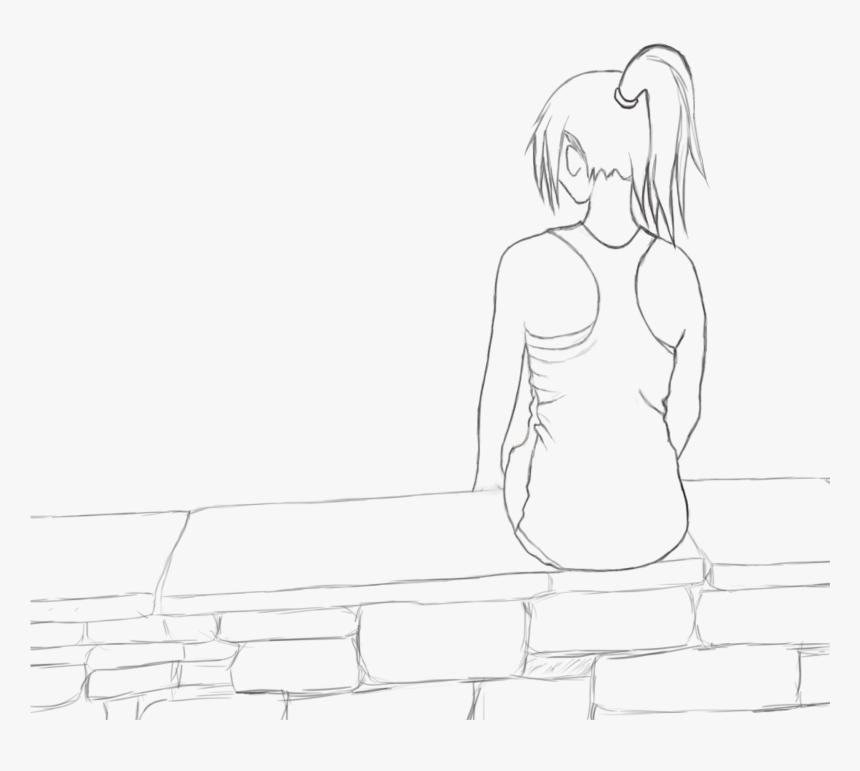 Girl Alone Sad Teenager Sketch Hidden Face Black And White Dp For Girls Hd Png Download Kindpng