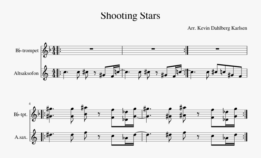 Shooting Stars Sheet Music For Trumpet, Alto Saxophone - Stand By Me Partitura, HD Png Download, Free Download