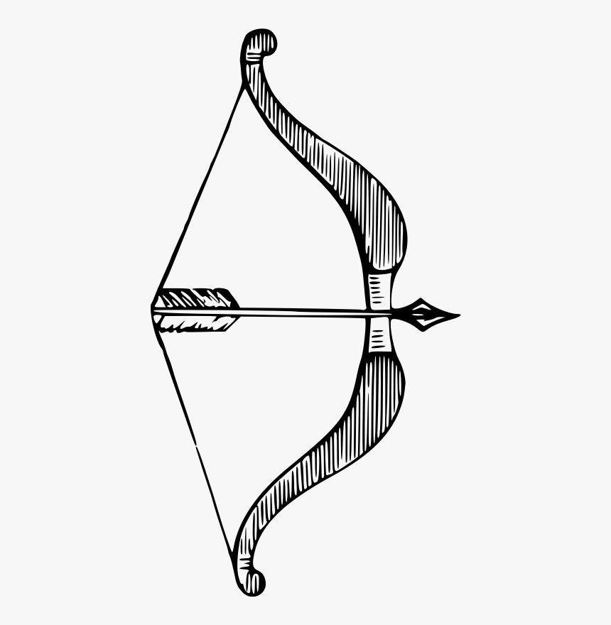 Bow And Arrow - Archery Bow Line Art Png, Transparent Png, Free Download