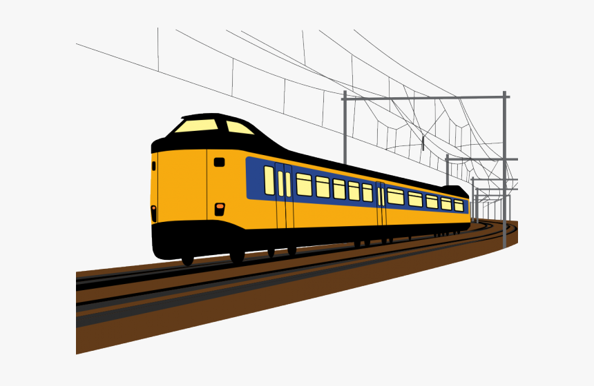 Railroad Tracks Clipart Modern Train - Electric Train Clip Art, HD Png Download, Free Download