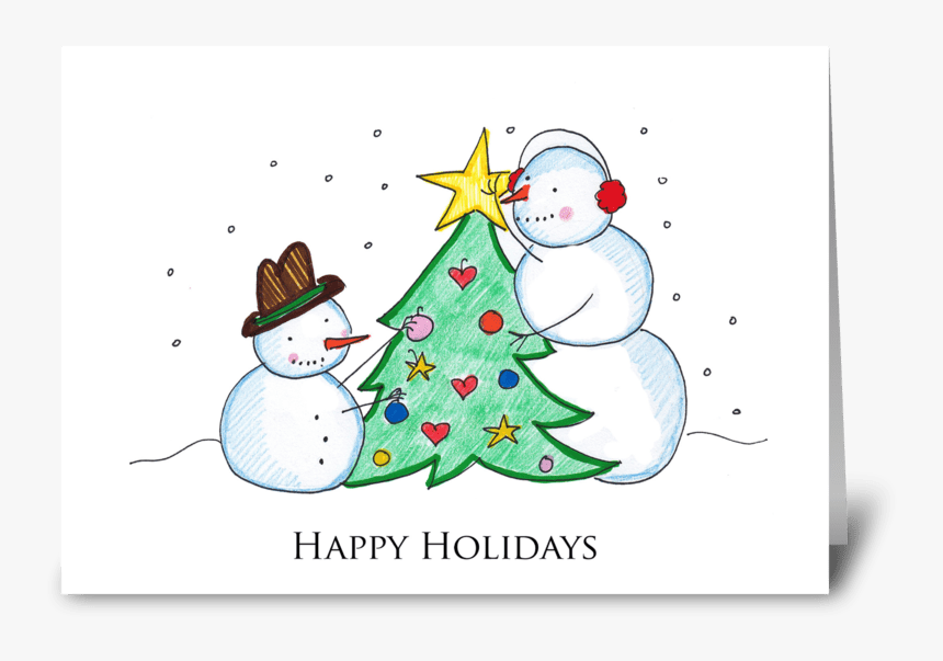 Happy Holidays Snowmen Greeting Card - Happy Holidays Snowman, HD Png Download, Free Download