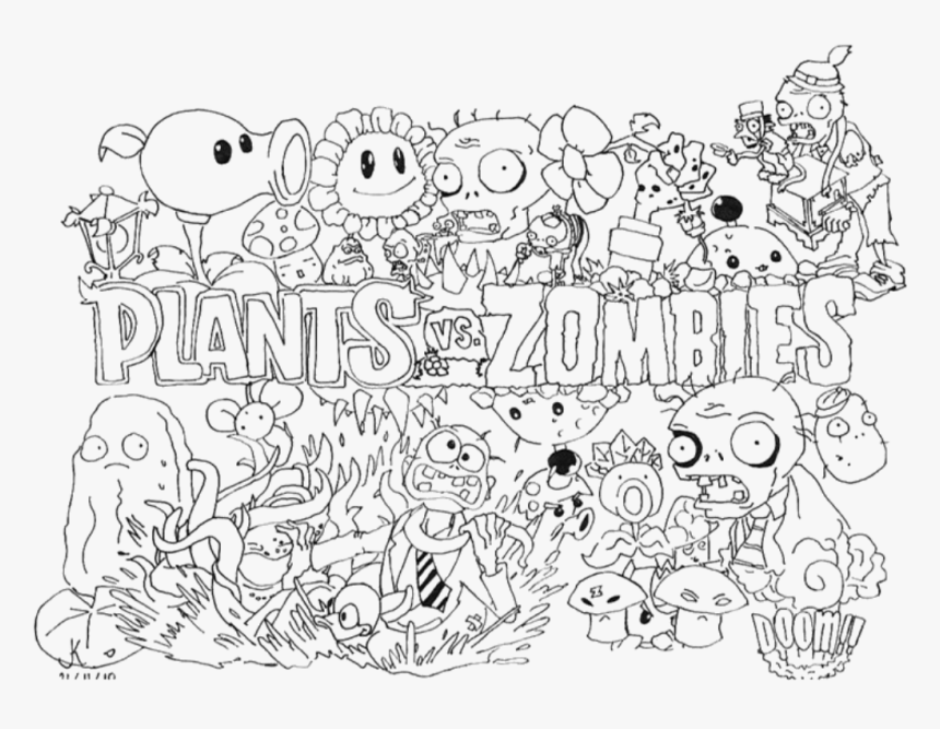 - Plants Vs Zombies Coloring Pages - Plants Vs Zombies 2 To Color, HD Png  Download - Kindpng