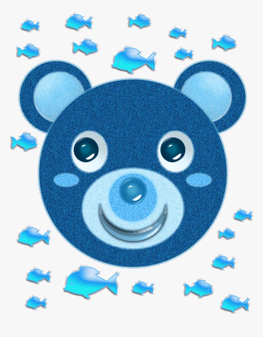 Blue Bear Face And Fish - Face Green Bear Cartoon, HD Png Download, Free Download