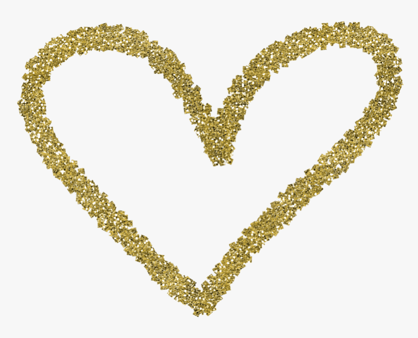 """Heart Valentine""""s Day Gold - Heart Border Png Glitter, Transparent Png, Free Download"""
