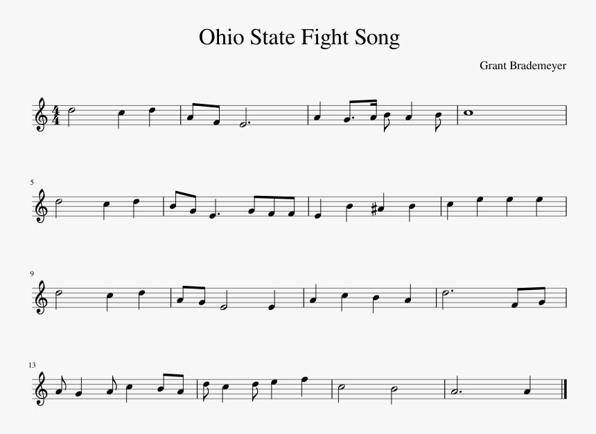 Ohio State Fight Song Sheet Music Composed By Grant - Wildwood Flower Guitar Tabs Free, HD Png Download, Free Download