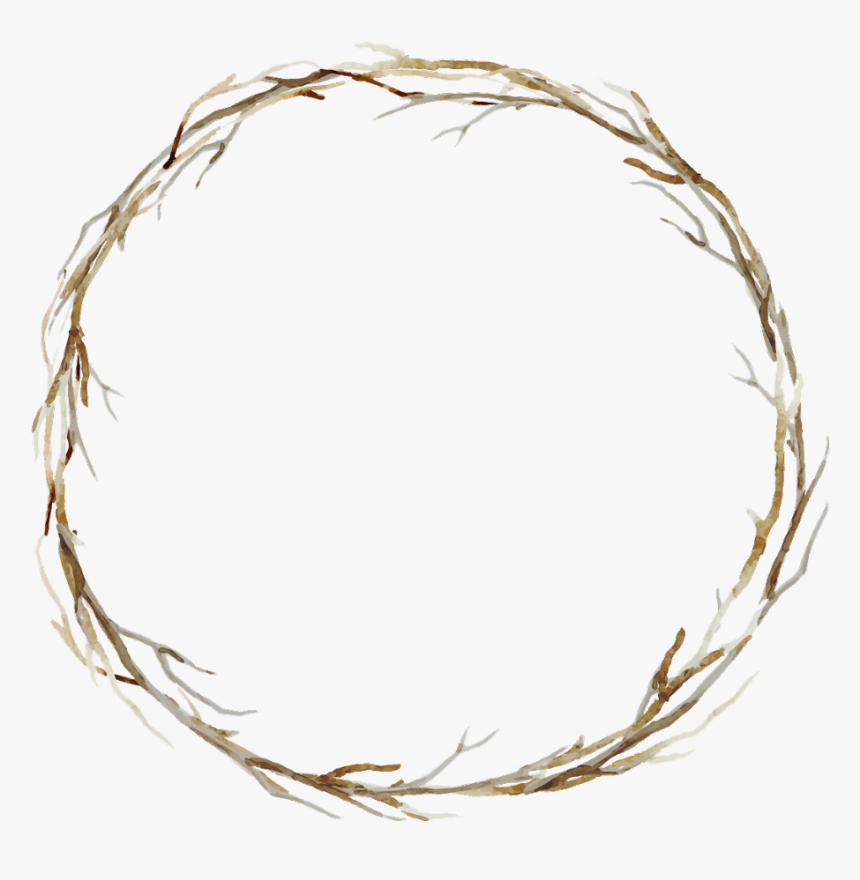 #branches #twigs #sticks #frame #border #wreath #background - Beige Watercolor Png, Transparent Png, Free Download