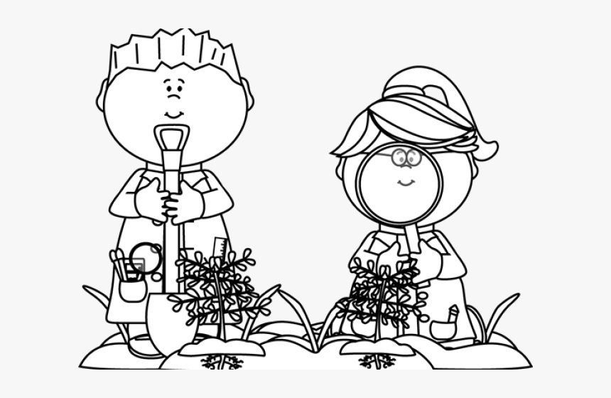 Black And White Kids Looking For Bugs - Science Class Clipart Black And White, HD Png Download, Free Download