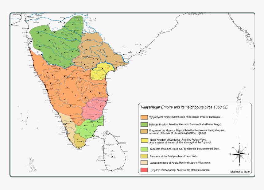 Jinji In India Map , Png Download - Vijayanagara Empire Political Cities, Transparent Png, Free Download
