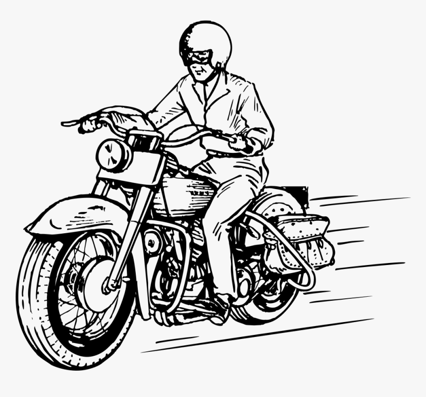 Riding Motorcycle Clipart Black And White - Drawings Of Driving Bike, HD Png Download, Free Download
