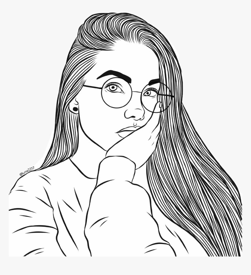 Girl Tumblr Freetoedit Glasses Round Pose Hair Tumblrgi - Outline Images Of Girls, HD Png Download, Free Download