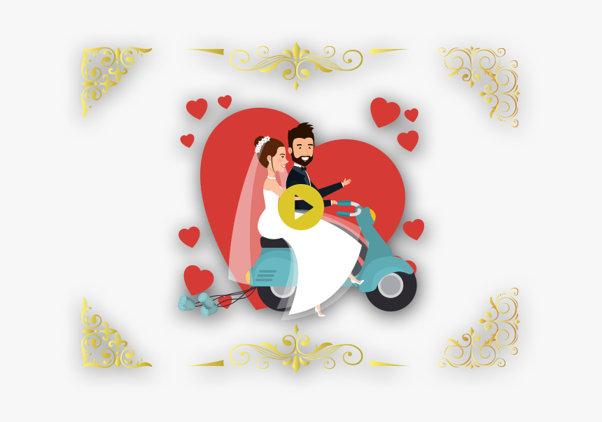 Slider Images - Vector Couple On Motorcycle, HD Png Download, Free Download