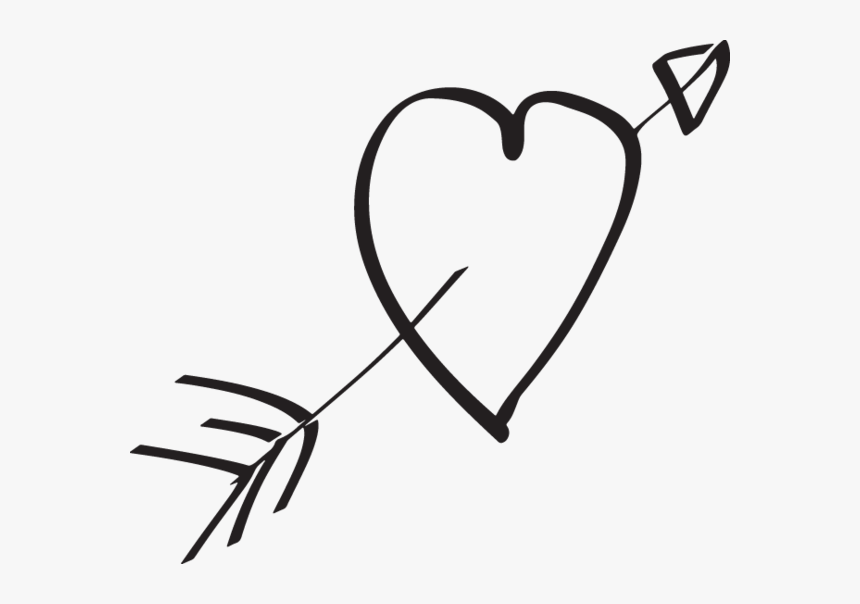 Hand Drawn Love Heart Arrow, HD Png Download, Free Download