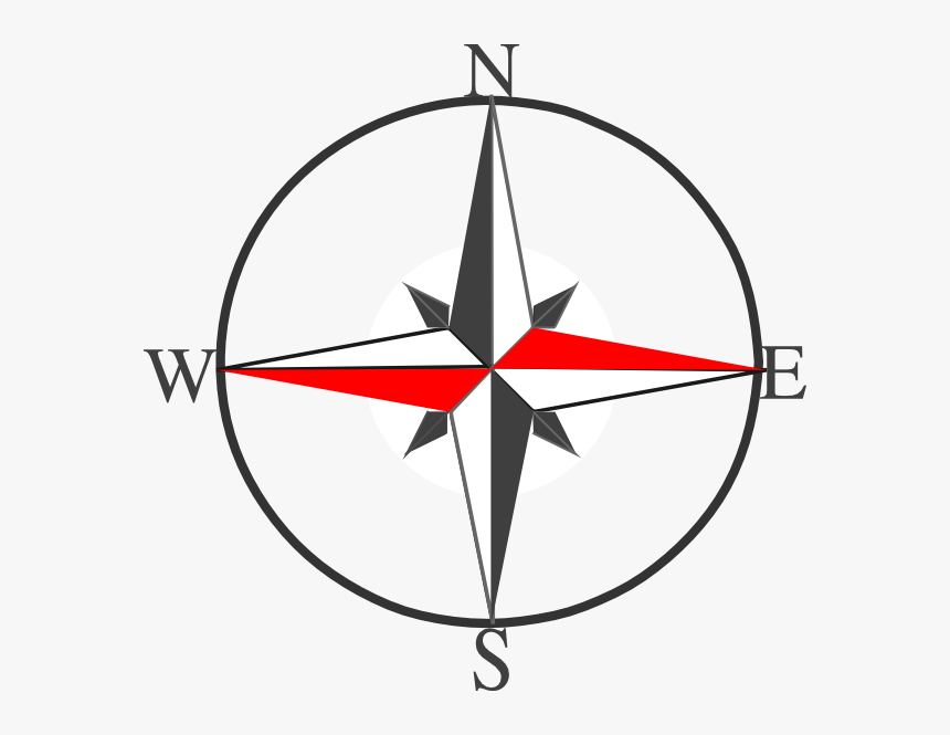 Dark Grey Compass Svg Clip Arts - Symbol Of North South East West, HD Png Download, Free Download
