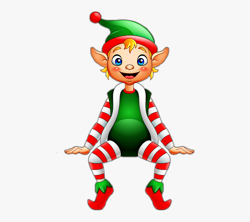 Christmas Elf Sitting , Png Download - Sitting Christmas Elf Png, Transparent Png, Free Download