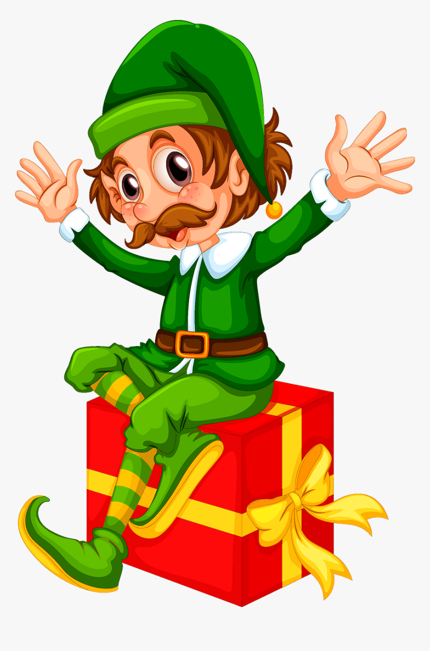 Christmas Present Elf Clipart, HD Png Download, Free Download