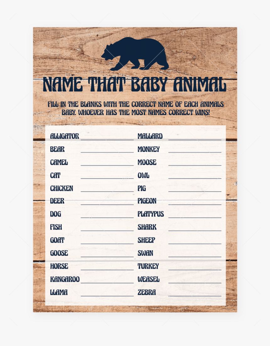 Name That Baby Animal Game For Rustic Baby Shower Printable - Free Printable Name The Baby Animal Game, HD Png Download, Free Download