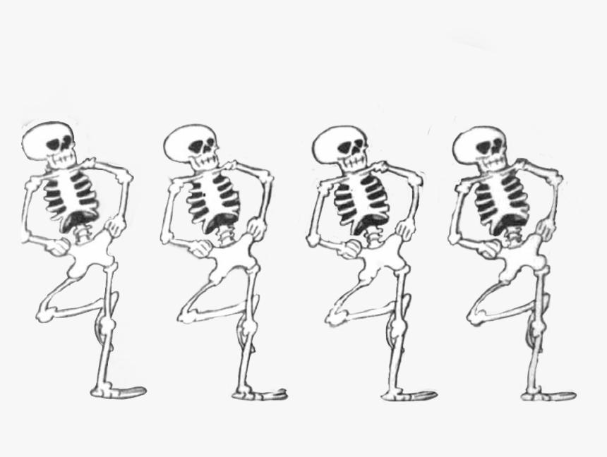 skeleton #skeletons #dancing #halloween #spooky #vintage - Line Art, HD Png  Download - kindpng