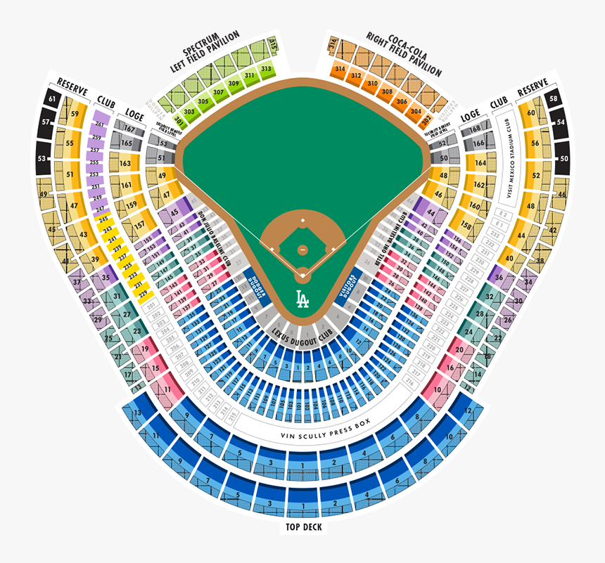 Dodger Stadium Seating Chart With Seat Numbers - Bullpen Loge Box Mvp Dodger Stadium, HD Png Download, Free Download