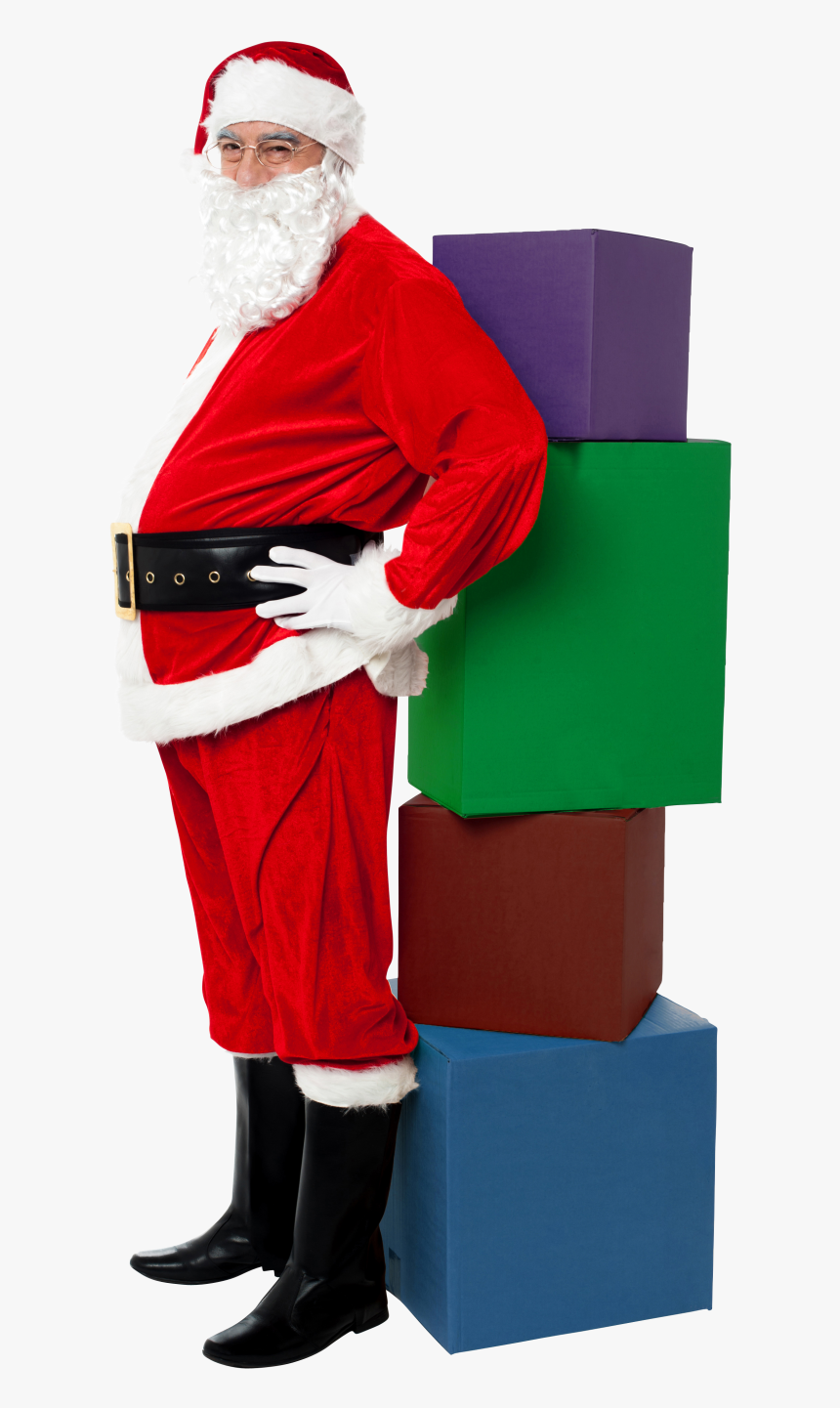 Santa Claus With Four Boxes Png Image - Christmas Day, Transparent Png, Free Download