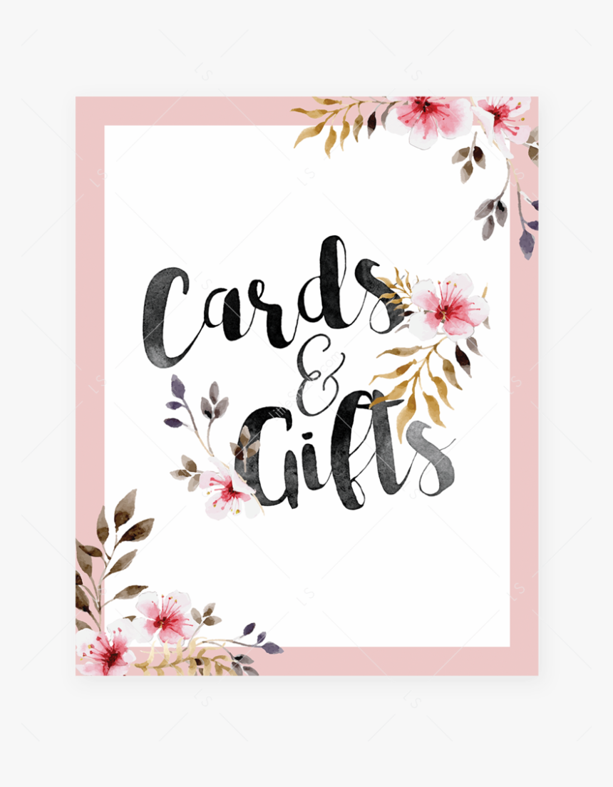 """Blush Floral Cards And Gifts Sign By Littlesizzle""""  - Baby Shower Game Signs, HD Png Download, Free Download"""