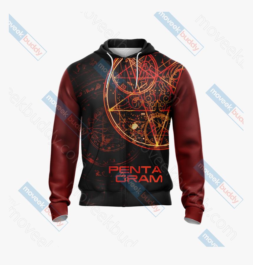 Pentagram Unisex Zip Up Hoodie Jacket - Fire Emblem Black Eagles Hoodie, HD Png Download, Free Download