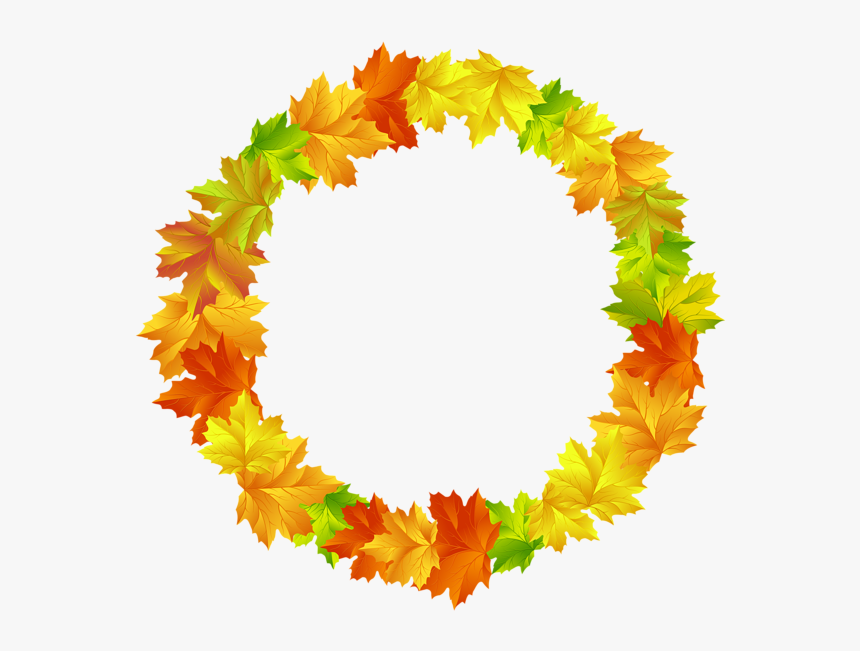 Fall Leaves Round Border Frame Png Clip Art Image - Fall Leaves Circle Clipart, Transparent Png, Free Download