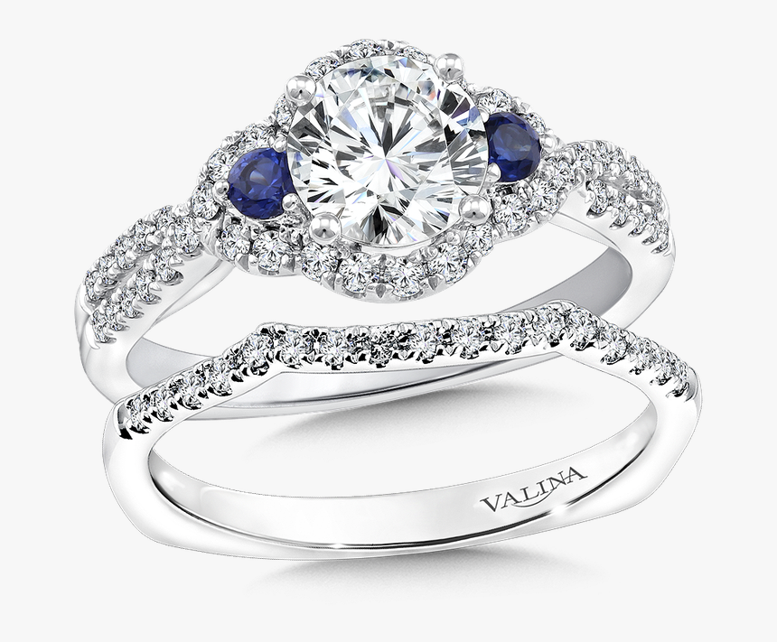 Halo Engagement Ring With Sapphire, HD Png Download, Free Download