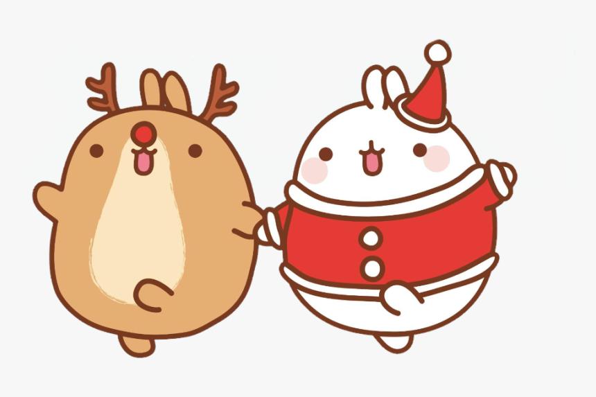 #molang #rudolph #santa #kawaii - Merry Christmas Molang, HD Png Download, Free Download