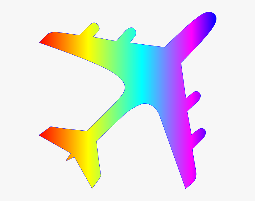 Airplane Silhouette Rainbow Colors - Airplane Silhouette, HD Png Download, Free Download