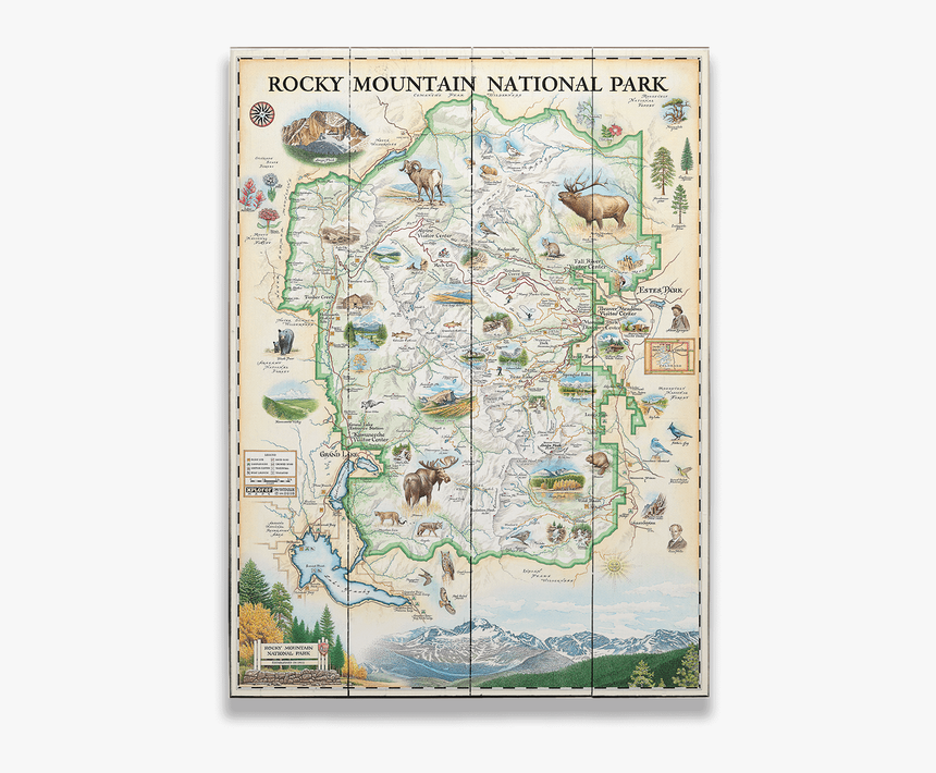 Rocky Mountains National Parks Map, HD Png Download - kindpng