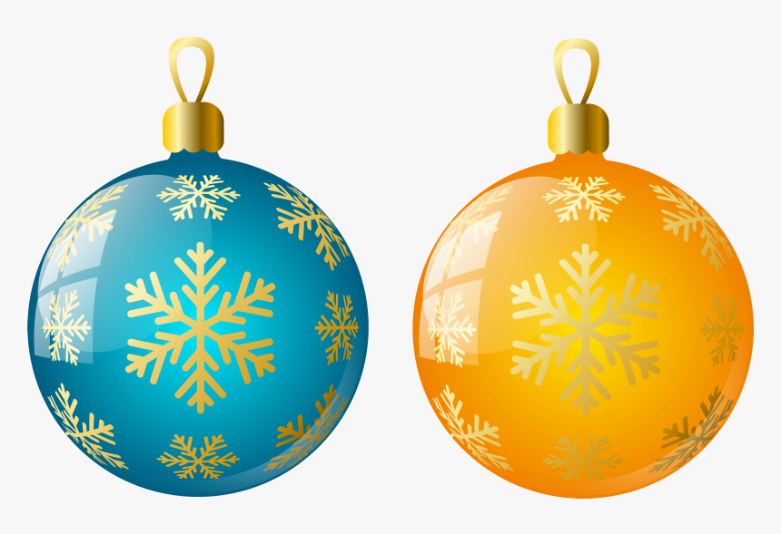 Large Size Transparent Yellow And Blue Christmas Ball - Christmas Tree Ornaments Transparent, HD Png Download, Free Download