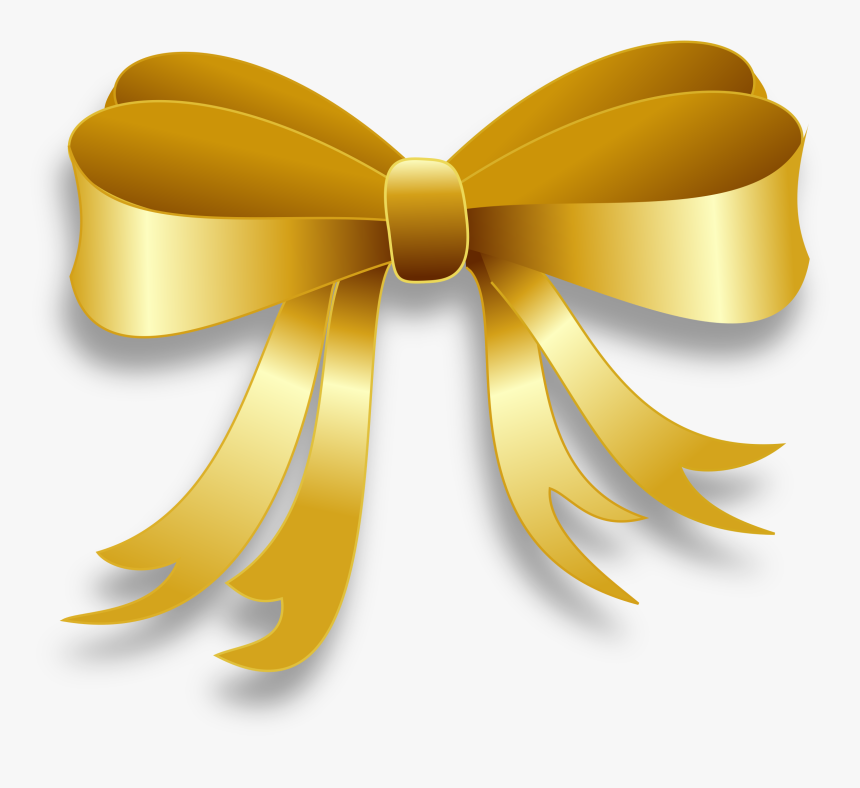 Gold Ribbon Clipart - Gold Bow Clipart, HD Png Download, Free Download