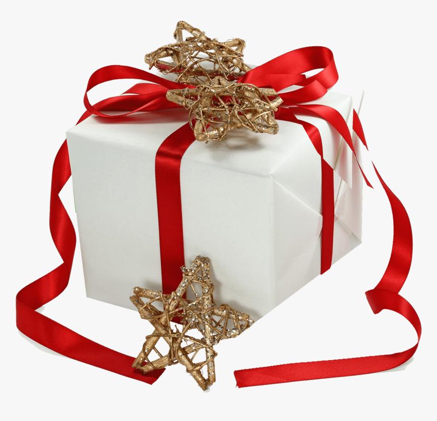 Christmas Gift Ribbon Gold Stars - Gift Box, HD Png Download, Free Download