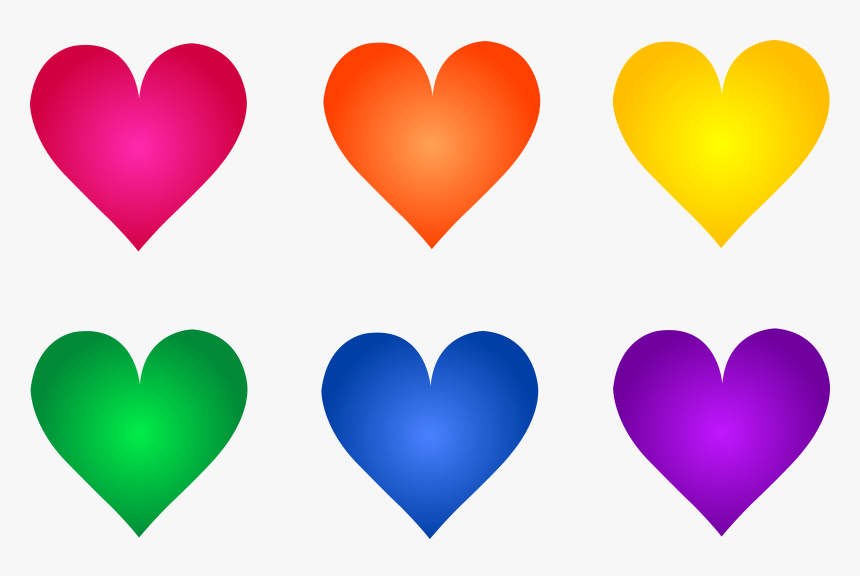 Colored Hearts Clipart, HD Png Download, Free Download
