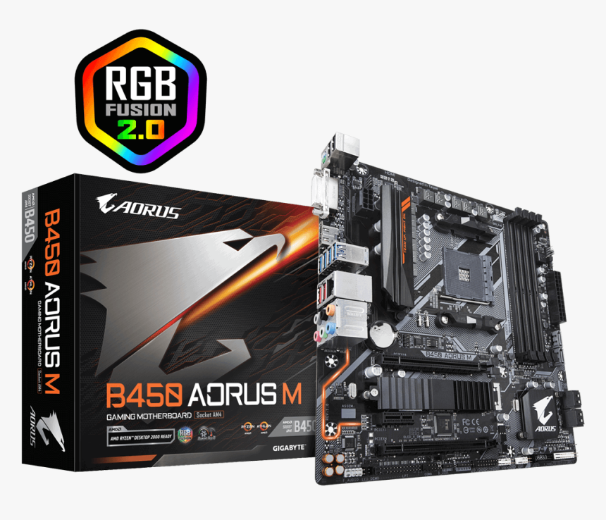 Gigabyte B450 Aorus M Am4 Amd Promontory B450 Ddr4, HD Png Download, Free Download